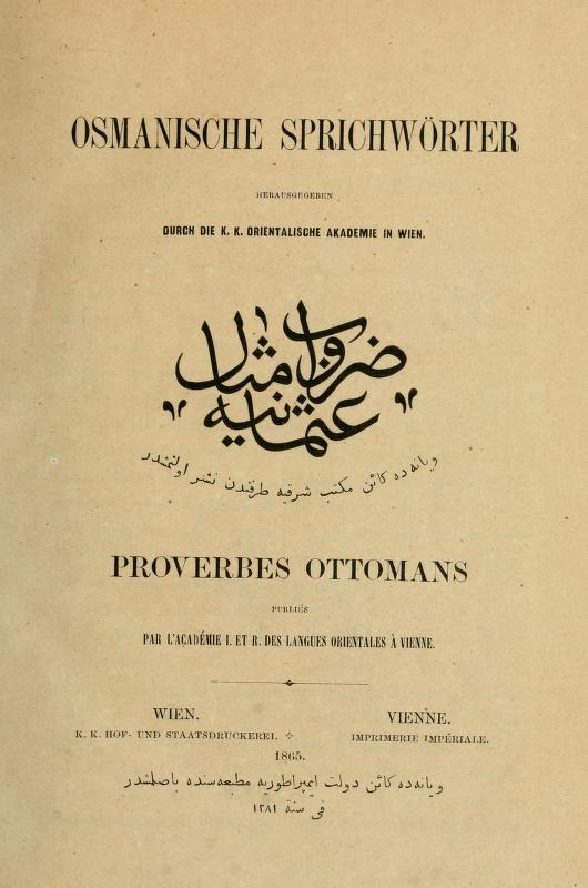Osmanlı türkcəsi-alman-fransız atalar sözləri lüğəti